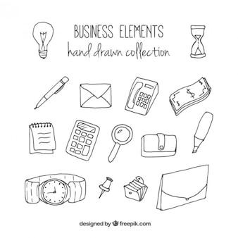 Bocetos de elementos de negocios