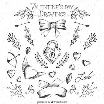 Bocetos de elementos del día de San Valentín