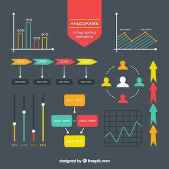 Bocetos de elementos infográficos en colores