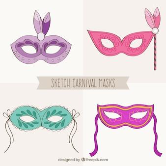 Bocetos de máscaras de carnaval