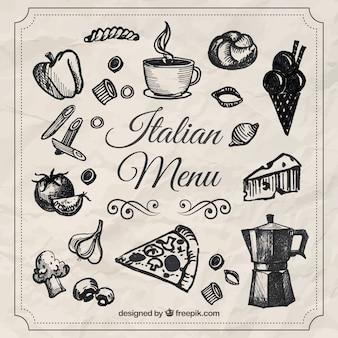 Bocetos de menu italiano