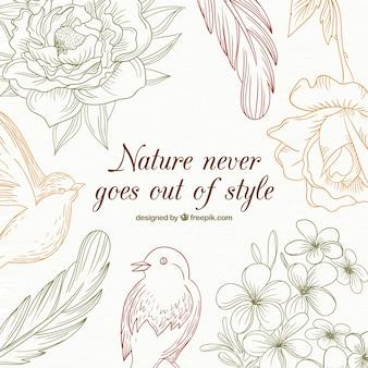Bocetos de naturaleza con un mensaje
