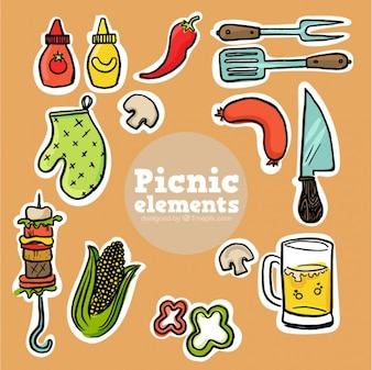 Bocetos de pegatinas de comida de picnic
