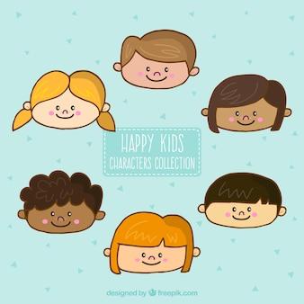 Bocetos de personajes de niños felices