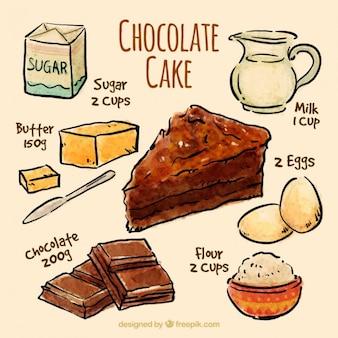 Bocetos de receta de pastel de chocolate