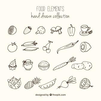 Bocetos de variedad de comida saludable