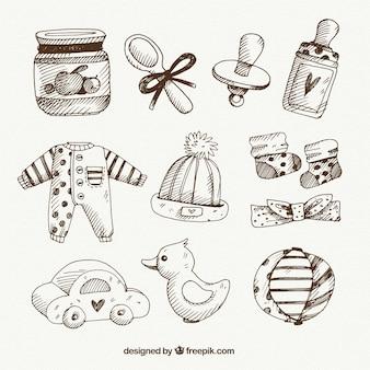 Bocetos de varios elementos de bebé