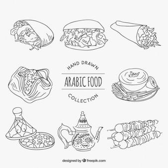 Bocetos diferentes alimentos árabe
