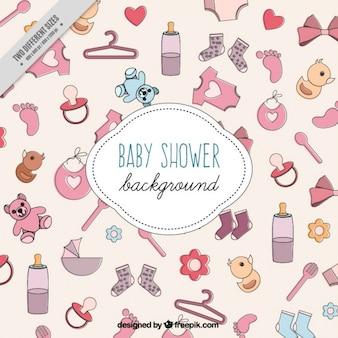 Bocetos fondo los elementos del bebé