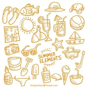 Bocetos naranjas de accesorios de verano