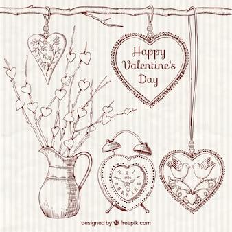 Bocetos ornamentales de elementos del día de valentín