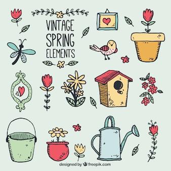 Bocetos paquete de accesorios de primavera