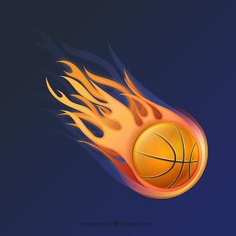 Bola del baloncesto en fuego