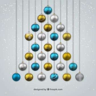 Bolas de navidad azules plateadas y doradas