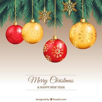 Bolas de navidad rojas y amarillas