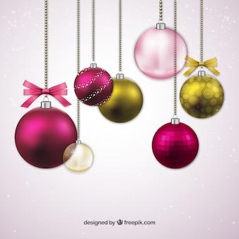 Rosa brillante rbol de navidad con las estrellas - Bolas de navidad doradas ...