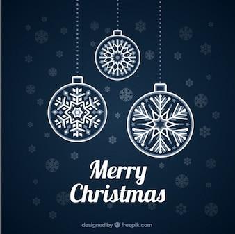 Bolas de navidad sobre fondo azul