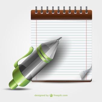 Bolígrafo y cuaderno vectoriales