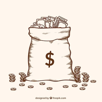 Bolsa llena de dinero dibujada a mano