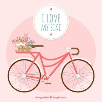Bonita bicicleta en diseño plano