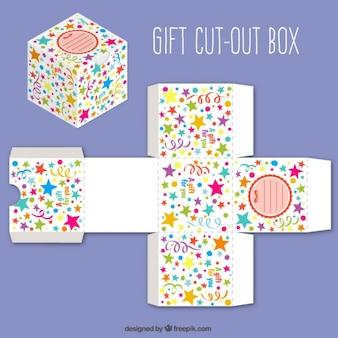 Bonita caja de regalo recortable con estrellas de colores