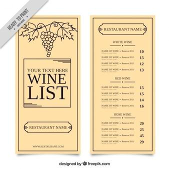 Bonita carta de vinos con un racimo de uvas