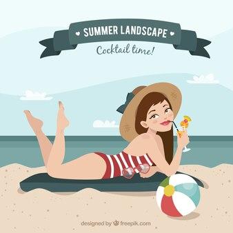 bonita chica en la playa con elementos de verano