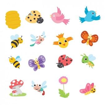 Bonita colección de animales de dibujo de primavera