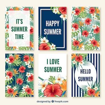 Bonita colección de tarjetas de verano