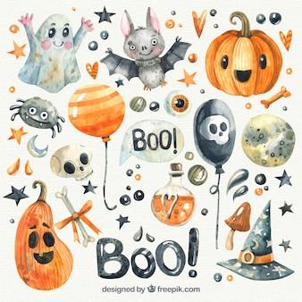 Bonita colección de halloween de acuarela
