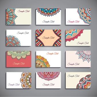 Bonita colección de tarjetas de visita de estilo boho