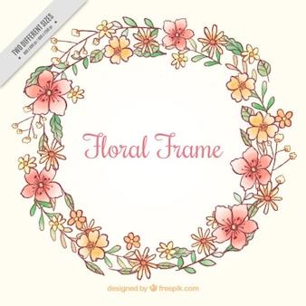 Bonita corona floral de acuarela dibujada a mano