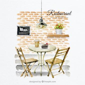 Bonita escena de mesa para dos en un restaurante