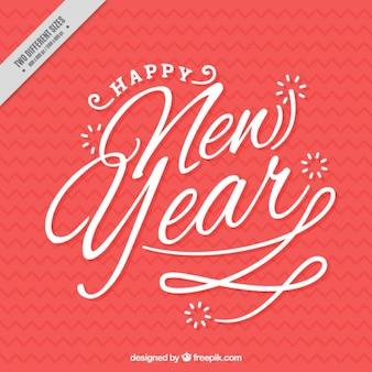 Bonita escritura de feliz año nuevo en estilo vintage
