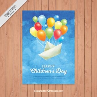 Bonita felicitación de acuarela del día del niño de barco de papel con globos