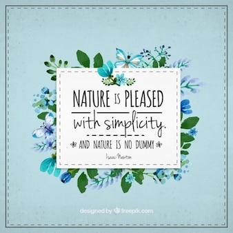 Bonita frase floral sobre naturaleza