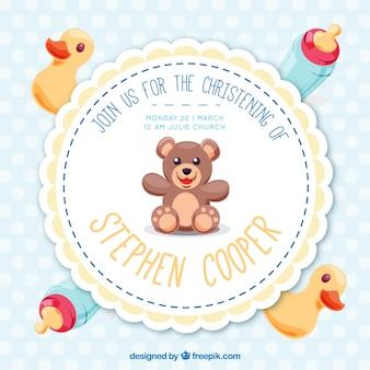 Bonita invitación de bautismo con juguetes