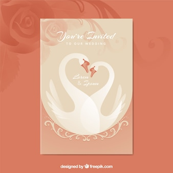 Bonita invitación de boda con cisnes