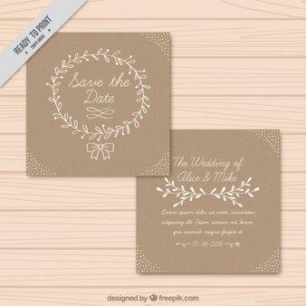 Bonita invitación de boda con detalles florales dibujados a mano
