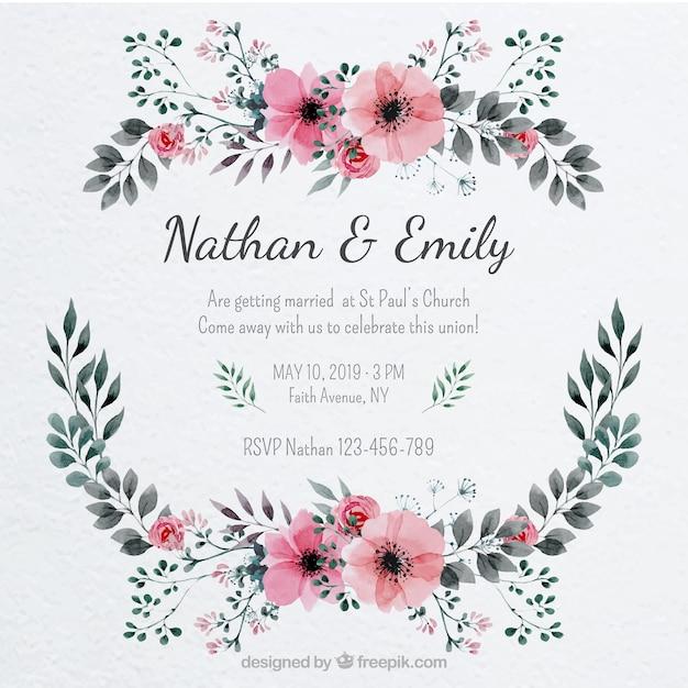 bonita invitacin de boda con un marco floral
