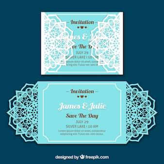 Bonita invitación de boda de color azul