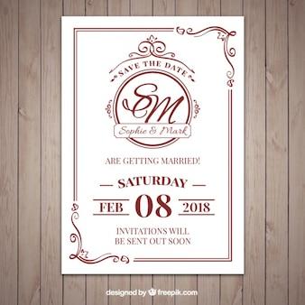 Bonita invitación de boda de estilo clásico