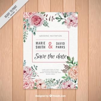 Bonita invitación de boda de flores de acuarela