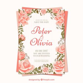 Bonita invitación de boda de rosas