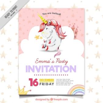 Bonita invitación de fiesta con unicornio