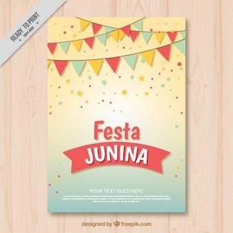 Bonita invitación de fiesta junina con guirnaldas
