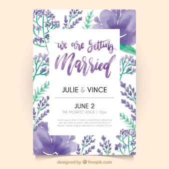 Bonita invitación retro de boda con flores de acuarela