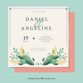 Bonita invitación vintage de boda con detalles florales