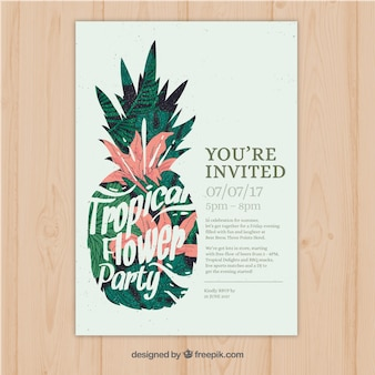 Bonita invitación vintage de fiesta tropical con piña