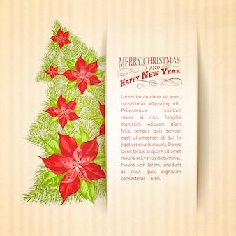 Bonita plantilla con un árbol de navidad